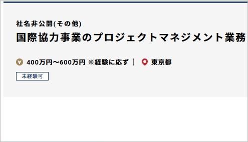 東京の国際協力求人の例の画像