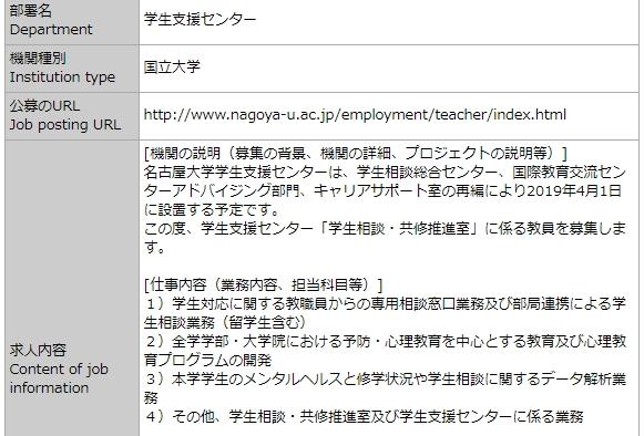 JREC-INで募集されている国際交流求人の例